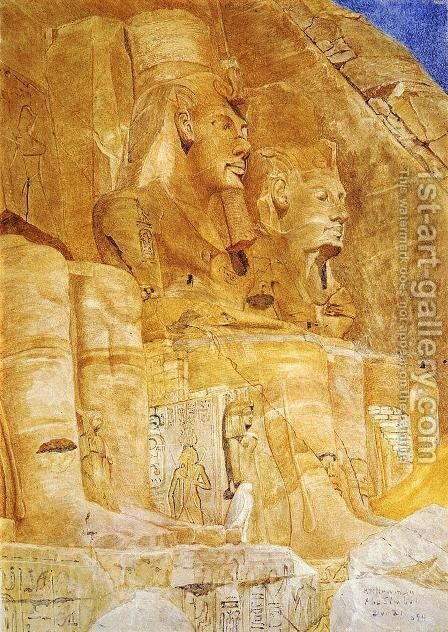 The Third and Fourth Figures at Abu Simbel by Henry Roderick Newman - Reproduction Oil Painting