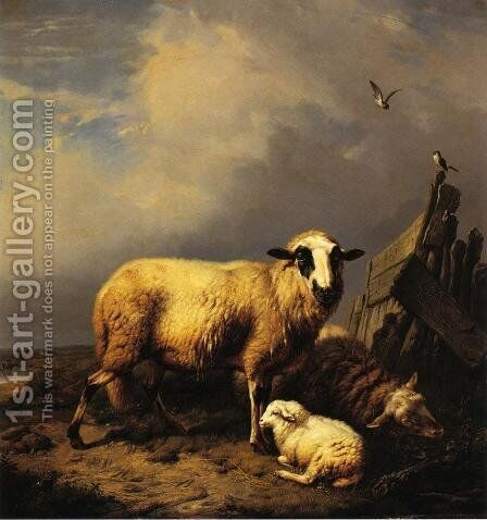 Guarding the Lamb by Carl Wagner - Reproduction Oil Painting