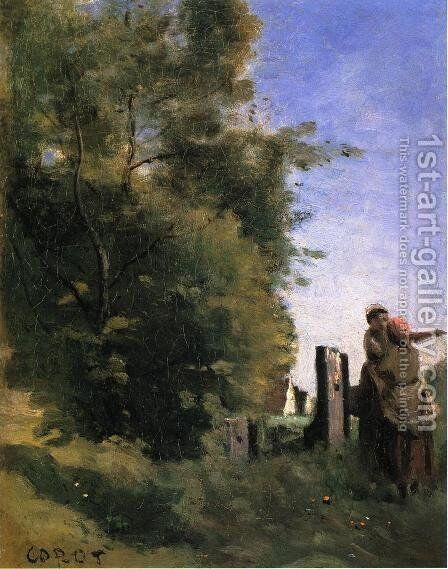 Two Women Talking by a Gate by Jean-Baptiste-Camille Corot - Reproduction Oil Painting
