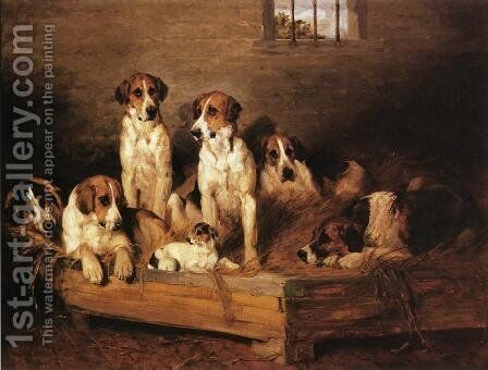 Foxhounds by Charles Olivier De Penne - Reproduction Oil Painting