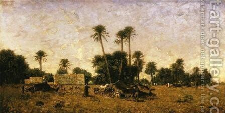 Tents of the Smalah of Si-Hamed-Bel-Hadj, Sahara by Eugene Fromentin - Reproduction Oil Painting