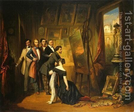 Interior of Bruyas's Study by Auguste Glaize - Reproduction Oil Painting