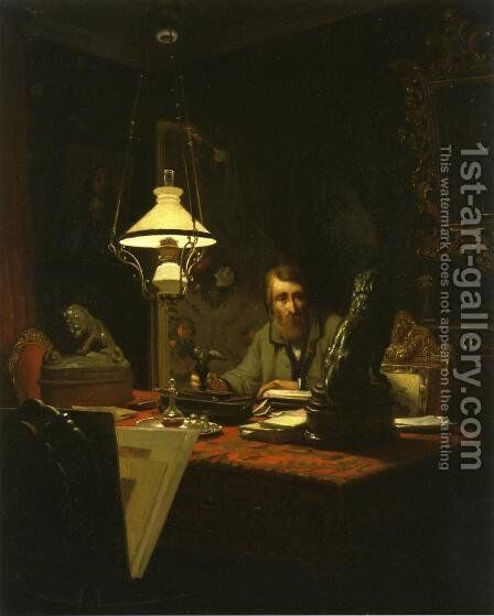 Alfred Bruyas in His Study by Edouard-Antoine Marsal - Reproduction Oil Painting