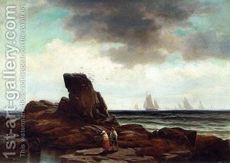 Crabbing by the Shore by Edward Moran - Reproduction Oil Painting