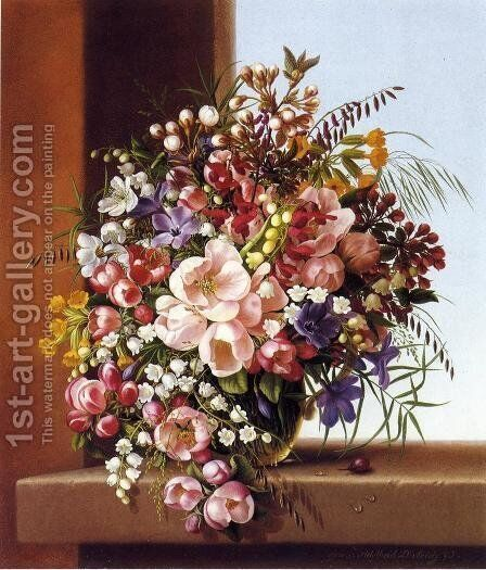 Flowers in a Glass Bowl by Adelheid Dietrich - Reproduction Oil Painting