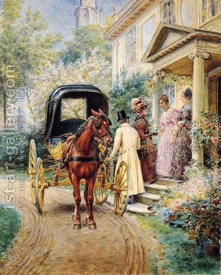 Mrs. Lydig and Her Daughter Greeting Their Guest by Edward Lamson Henry - Reproduction Oil Painting