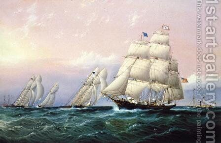 Racing off Sandy Hook by James E. Buttersworth - Reproduction Oil Painting