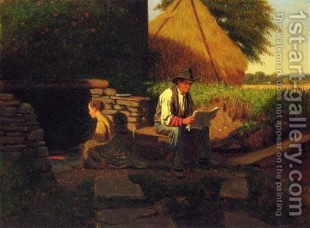 Catching Up on the News by Eastman Johnson - Reproduction Oil Painting