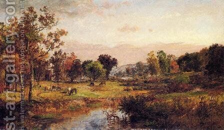 Farm Along the River by Jasper Francis Cropsey - Reproduction Oil Painting
