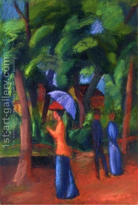 Walking in the Park by August Macke - Reproduction Oil Painting