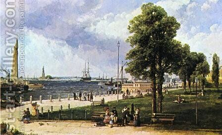 New York Harbor and Battery by Andrew Melrose - Reproduction Oil Painting