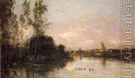 Ducklings in a River Landscape by Charles-Francois Daubigny - Reproduction Oil Painting
