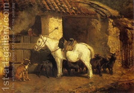 Outside the Stable by Constant Troyon - Reproduction Oil Painting
