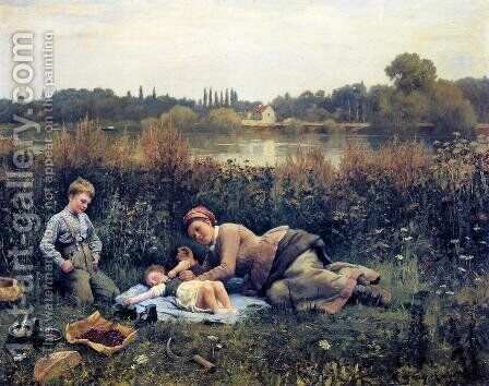 Noonday Repast by Daniel Ridgway Knight - Reproduction Oil Painting