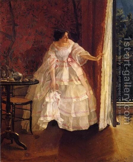 Lady at a Window Feeding Birds by Alfred-Emile-Leopole Stevens - Reproduction Oil Painting