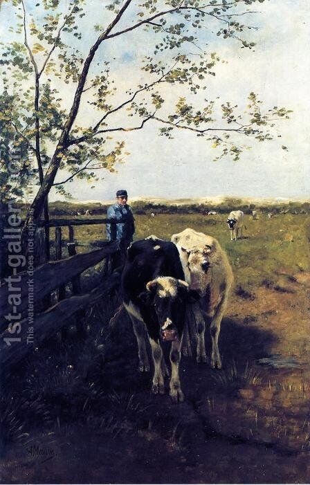 Finished Grazing by Anton Mauve - Reproduction Oil Painting