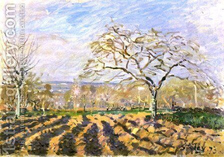 The Furrows by Alfred Sisley - Reproduction Oil Painting