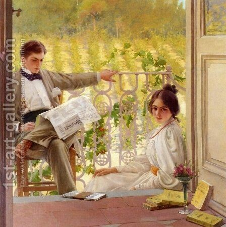 An Afternoono on the Porch by Vittorio Matteo Corcos - Reproduction Oil Painting