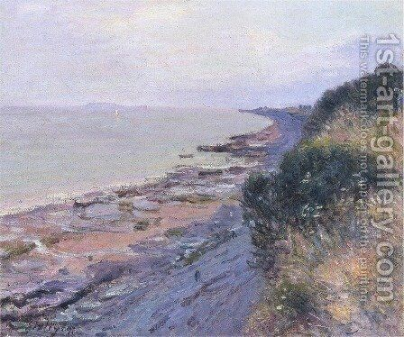 Cliffs at Penarth, Evening, Low Tide by Alfred Sisley - Reproduction Oil Painting