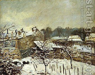 Snow Effect at Louveciennes by Alfred Sisley - Reproduction Oil Painting