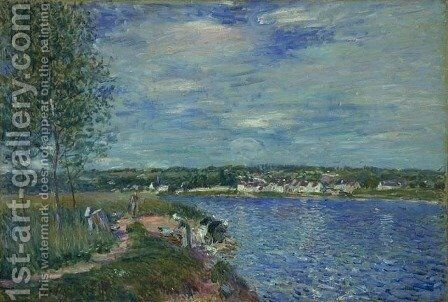 Washerwomen, near Champagne by Alfred Sisley - Reproduction Oil Painting