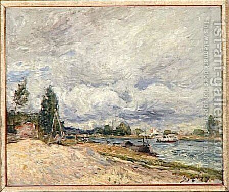 Banks of the Seine by Alfred Sisley - Reproduction Oil Painting