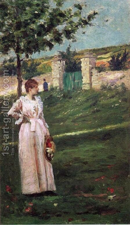 Woman in a Landscape by Charles Stanley Reinhart - Reproduction Oil Painting