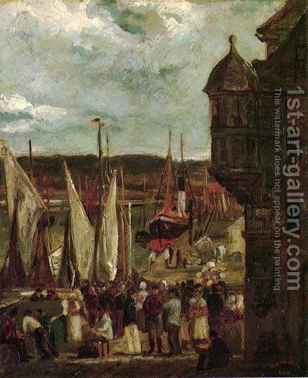 Harbor Scene by Theodore Robinson - Reproduction Oil Painting