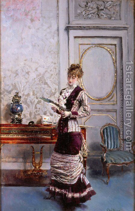 A Lady Admiiring a Fan by Giovanni Boldini - Reproduction Oil Painting