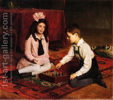 The Chess Match by Carl Probst - Reproduction Oil Painting