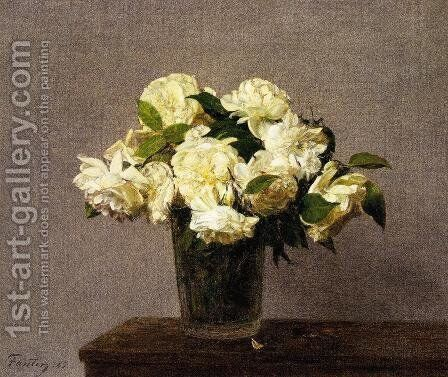 White Roses in a Vase by Ignace Henri Jean Fantin-Latour - Reproduction Oil Painting