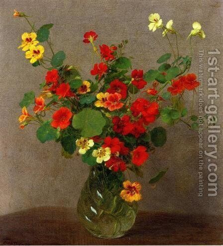 Nasturtiums by Ignace Henri Jean Fantin-Latour - Reproduction Oil Painting