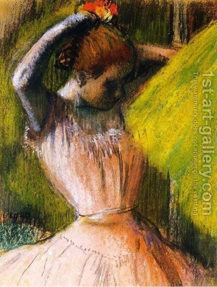 Ballet Corps Member Fixing Her Hair by Edgar Degas - Reproduction Oil Painting