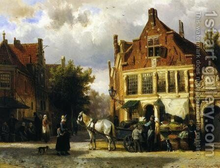 The Corner of Westerstraat and Tabakstraat in Enkhuizen by Cornelis Springer - Reproduction Oil Painting