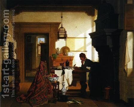 The Pet Bird by Charles Joseph Grips - Reproduction Oil Painting