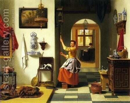Winding the Clock by Antoon Francois Heyligers - Reproduction Oil Painting