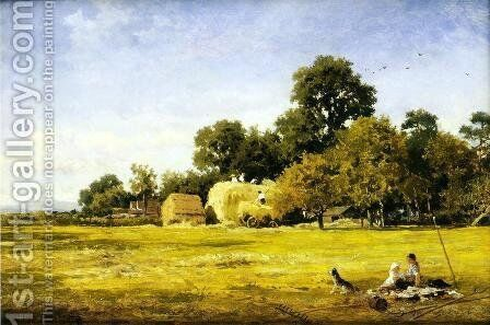 Making a Hay Rick, Whittington by Benjamin Williams Leader - Reproduction Oil Painting
