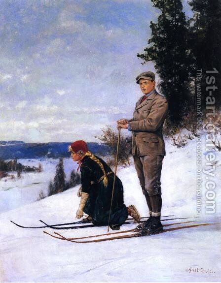 Cross Country Skiing by Axel Ender - Reproduction Oil Painting