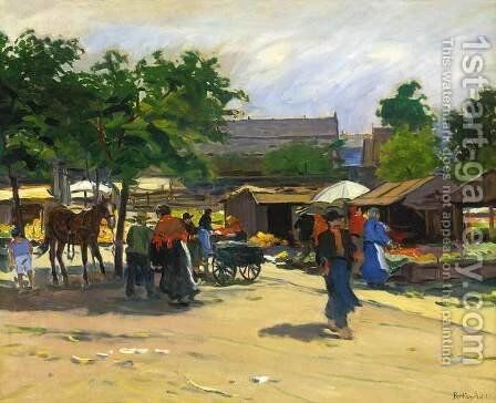 At the Market by Antal Berkes - Reproduction Oil Painting