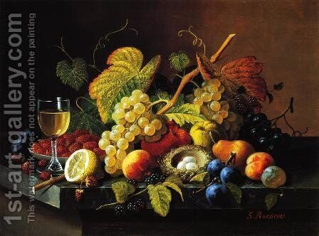 Still Life with Fruit XV by Severin Roesen - Reproduction Oil Painting