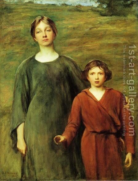Hagar and Ishmael by Henry Oliver Walker - Reproduction Oil Painting