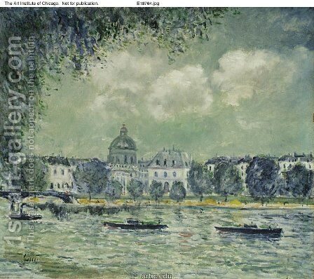 The Seine with the Institute of France by Alfred Sisley - Reproduction Oil Painting