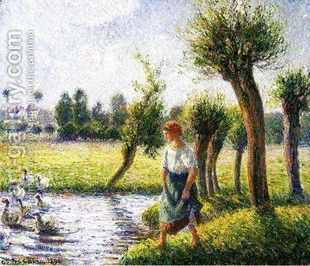 Peasant Woman Watching the Geese by Camille Pissarro - Reproduction Oil Painting