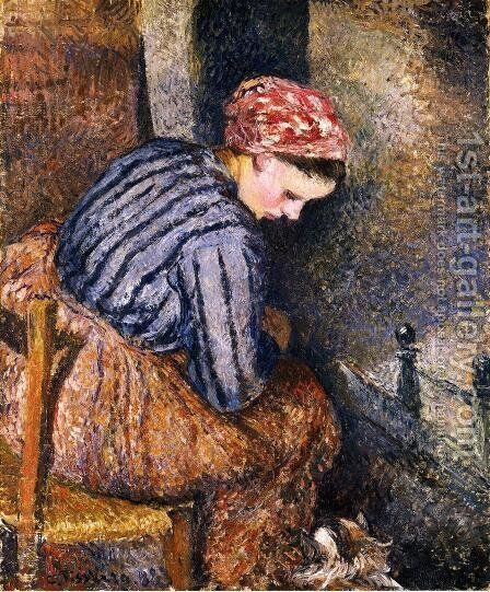 Peasant Woman Warming Herself by Camille Pissarro - Reproduction Oil Painting