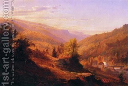 Catskill Cove by Johann Carmiencke - Reproduction Oil Painting