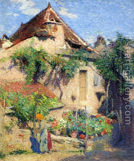 House and Garden at Saint-Cirq-Lapopie by Henri Martin - Reproduction Oil Painting