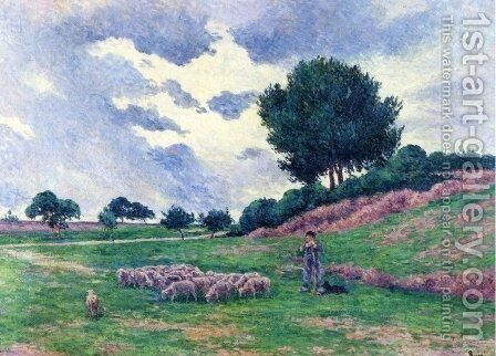 Mereville, a Herd of Sheep by Maximilien Luce - Reproduction Oil Painting