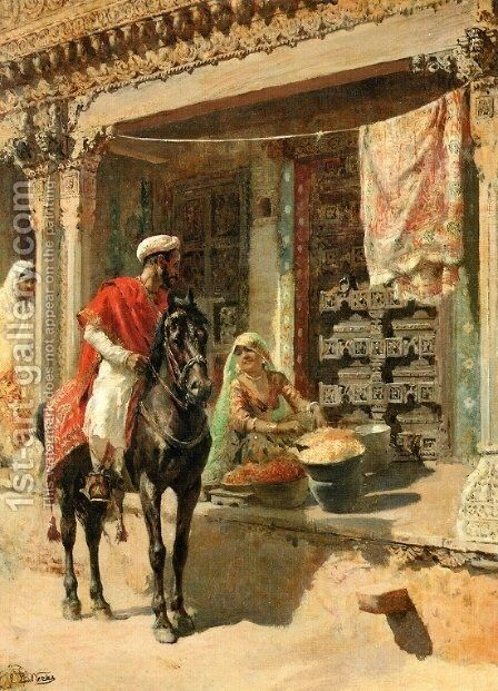 Street Vendor, Ahmedabad by Edwin Lord Weeks - Reproduction Oil Painting