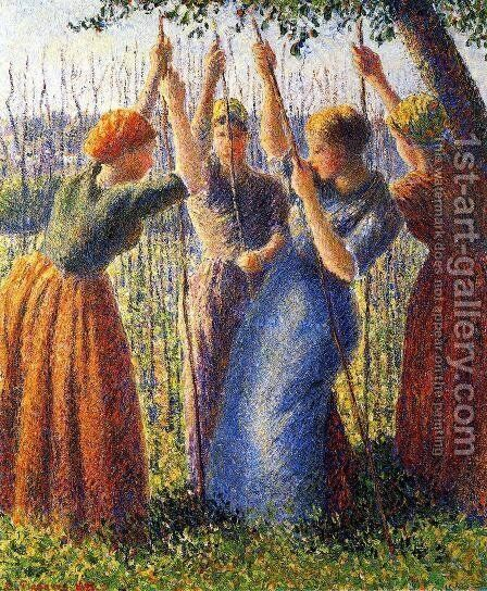 Peasant Women Planting Stakes by Camille Pissarro - Reproduction Oil Painting