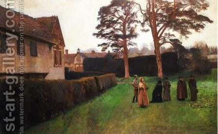 A Game of Bowls, Ightham Mote, Kent by Sargent - Reproduction Oil Painting